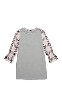 Crown & Ivy™ Girls 7-16 Knit to Woven Sweatshirt