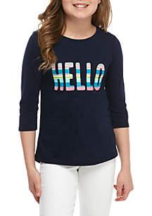 Crown & Ivy™ Girls 7-16 3/4 Sleeve T Shirt