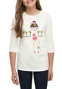 Crown & Ivy™ Girls 7-16 3/4 Sleeve Printed Tunic