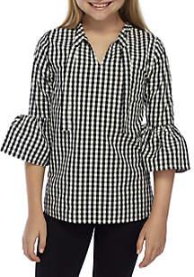 Girls 7-16 Long Bell Sleeve Tie Top