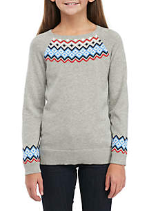 Girls 4-8 Long Sleeve Intarsia Sweater