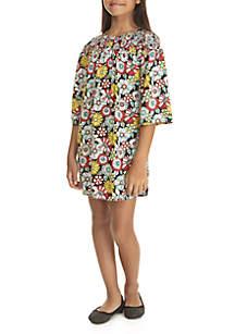 Girls 7-16 3/4 Sleeve Woven Print Dress
