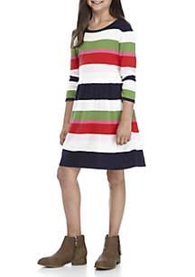 Girls 7-16 Long Sleeve Stripe Yarn Dyed Dress