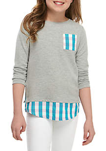 Crown & Ivy™ Girls 7-16 3/4 Sleeve Knit to Woven Pocket Top