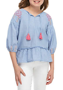Crown & Ivy™ Girls 7-16 3/4 Sleeve Embroidered Peasant Top