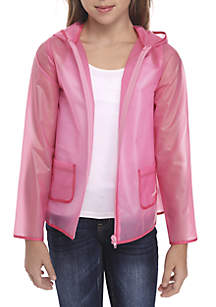 Crown & Ivy™ Girls 7-16 Long Sleeve See-Through Raincoat