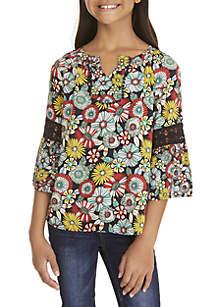 Girls 7-16 3/4 Crochet Sleeve Print Peasant Top