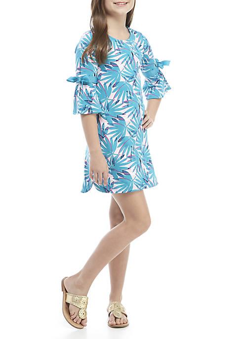 Girls 7-16 3/4 Sleeve Print Dress