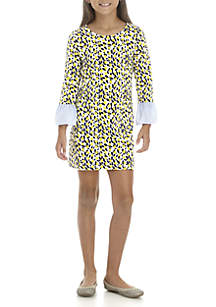 Crown & Ivy™ Girls 7-16 Knit to Woven Print Dress