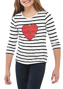 Crown & Ivy™ Girls 7-16 3/4 Sleeve Printed T Shirt