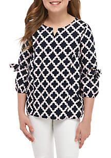 Crown & Ivy™ Girls 7-16 3/4 Sleeve Printed Woven Top