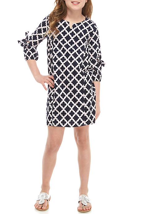 Girls 7-16 3/4 Sleeve Printed Dress
