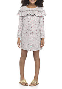 Girls 7-16 Long Sleeve Print Dress