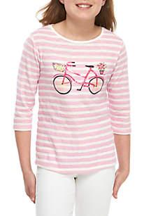 Crown & Ivy™ Girls 7-16 3/4 Sleeve Poetry Printed T Shirt