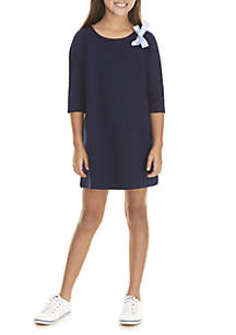 Crown & Ivy™ Girls 7-16 3/4 Sleeve Knit to Woven Dress