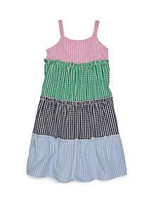 Crown & Ivy™ Girls 7-16 Sleeveless Mixed Gingham Dress