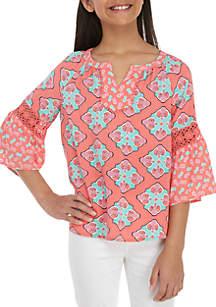 Crown & Ivy™ Girls 7-16 3/4 Sleeve Crochet Peasant Top