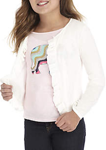 Girls 7-16 Long Sleeve Ruffle Cardigan