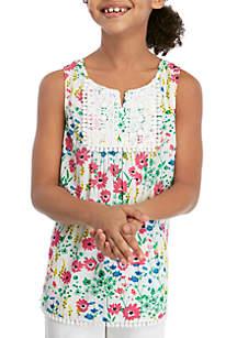 Crown & Ivy™ Girls 7-16 Sleeveless Pom Trim Peasant Top