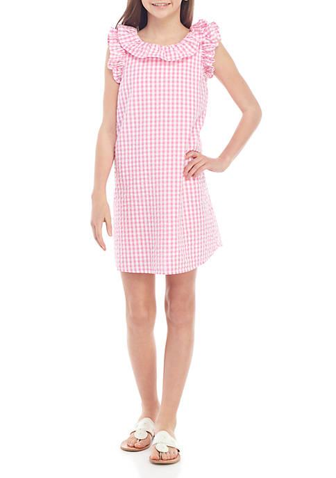 Girls 7-16 Sleeveless Ruffle Bow Dress