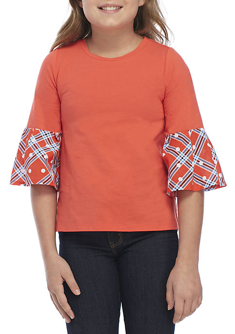 Crown & Ivy™ Girls 7-16 3/4 Flare Sleeve