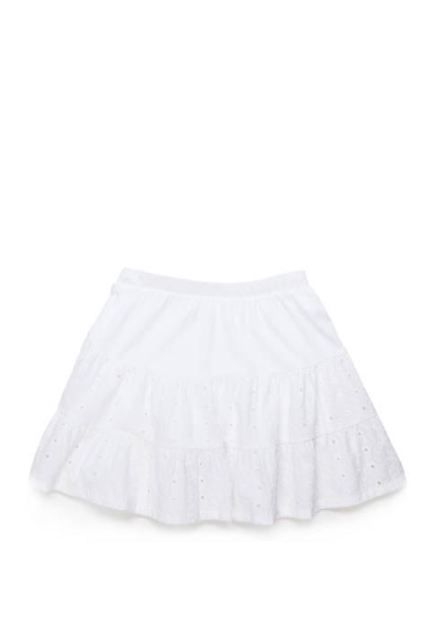 Crown & Ivy™ Girls 7-16 Eyelet Layered Skirt
