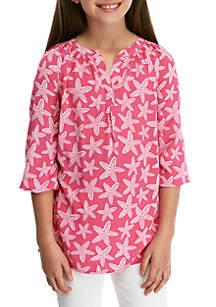 Crown & Ivy™ Girls 7-16 3/4 Sleeve Printed Peasant Top