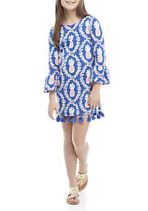 Crown & Ivy™ Girls 7-16 Knit to Woven Pom Trim Dress