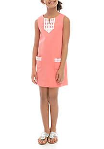 Crown & Ivy™ Girls 7-16 Sleeveless Lace Pocket Dress