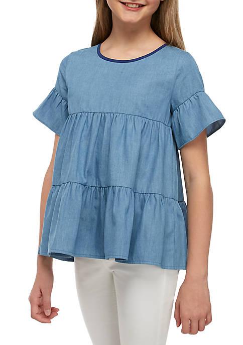 Crown & Ivy™ Girls 7-16 Short Sleeve Gathered