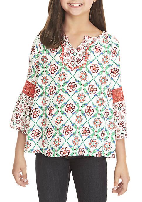 Crown & Ivy™ Girls 7-16 3/4 Crochet Sleeve