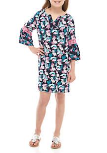 Crown & Ivy™ Girls 7-16 3/4 Sleeve Printed Peasant Dress