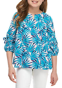 Crown & Ivy™ Girls 7-16 3/4 Sleeve Woven Top