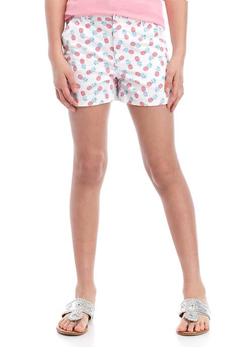 Crown & Ivy™ Girls 7-16 Printed Twill Shorts
