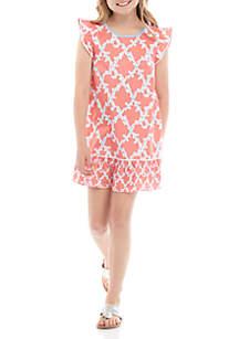 Crown & Ivy™ Girls 7-16 Flutter Ric Rac Dress