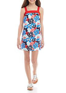 Crown & Ivy™ Girls 7-16 Sleeveless Pom Trim Dress