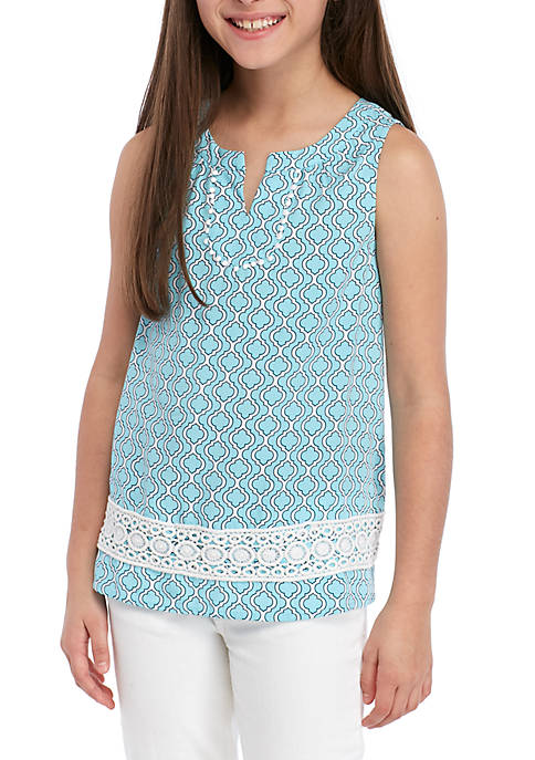 Girls 7-16 Sleeveless Crochet Peasant Top