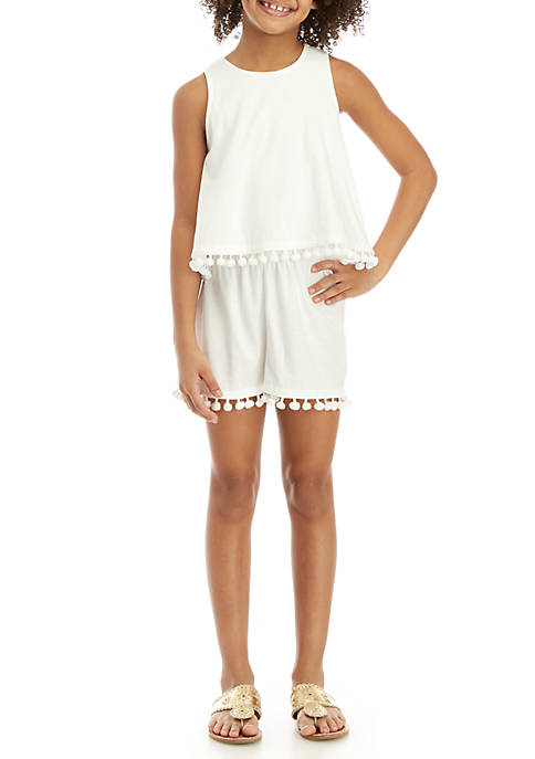 Crown & Ivy™ Girls 7-16 Knit Pom Romper