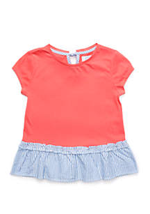 Crown & Ivy™ Girls 7-16 Short Sleeve Peplum Tee