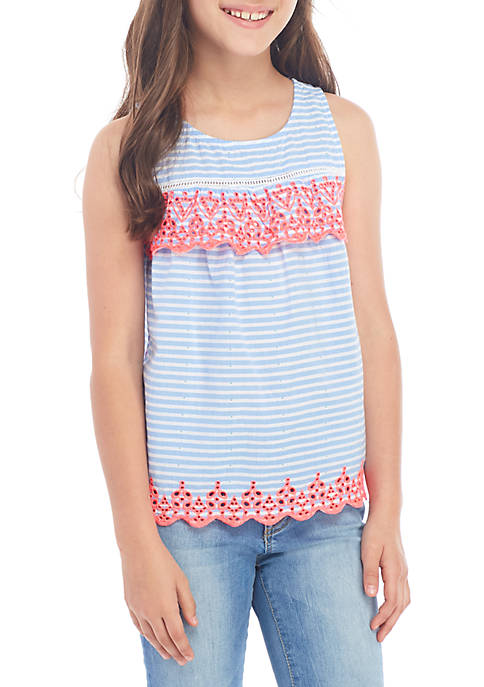 Girls 7-16 Sleeveless Embroidered Top