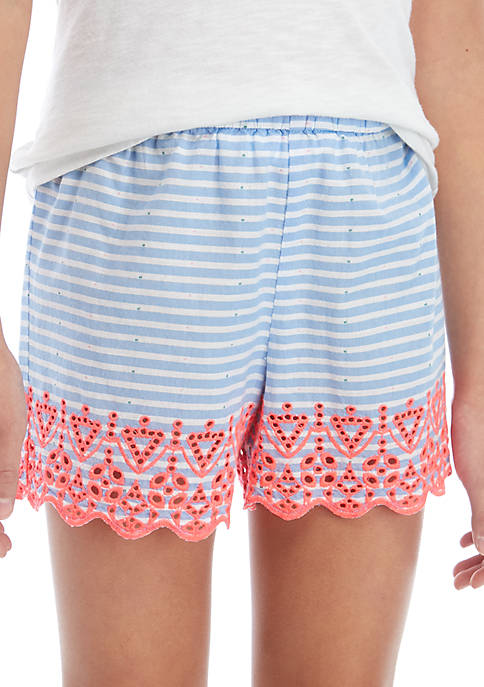 Crown & Ivy™ Girls 7-16 Embroidered Shorts