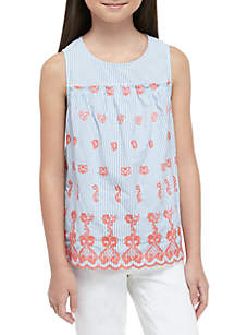 Crown & Ivy™ Girls 7-16 Sleeveless Embroidered Tank