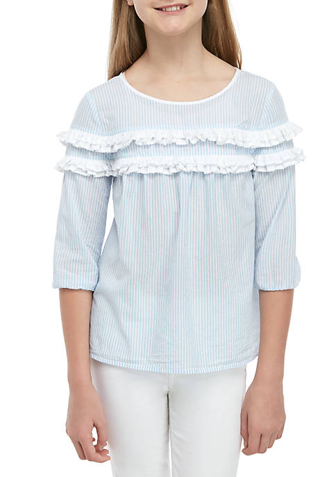 Crown & Ivy™ Girls 7-16 Ruffle Front Peasant