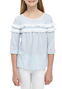 Crown & Ivy™ Girls 7-16 Ruffle Front Peasant Top