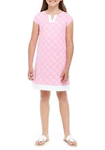 Crown & Ivy™ Girls 7-16 Short Sleeve Crochet Dress
