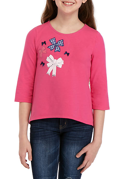 Crown & Ivy™ Girls 7-16 3/4 Sleeve Graphic