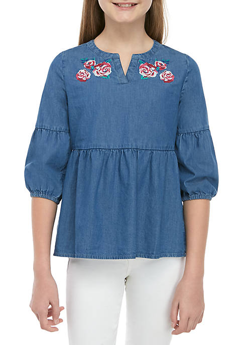 Crown & Ivy™ Girls 7-16 Button Back Peasant
