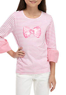 Crown & Ivy™ Girls 7-16 Tie Bow Front Tee