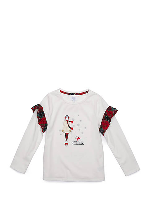 Crown & Ivy™ Girls 7-16 Ruffle Sleeve Graphic