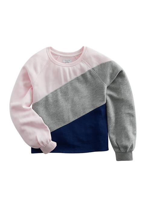 Girls 7-16 Long Sleeve Color Block Diagonal Sweatshirt